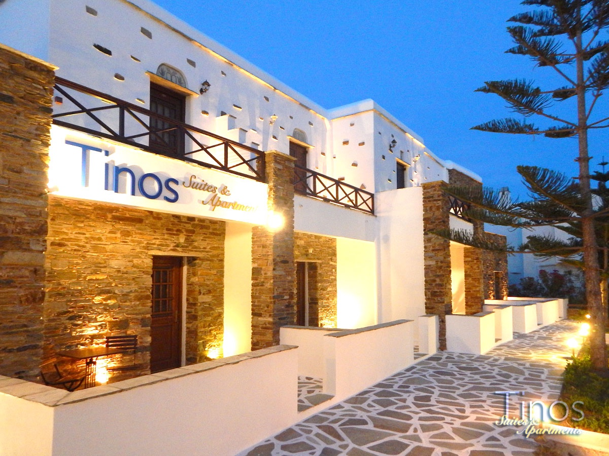The exterior of Tinos Suites & Apartments